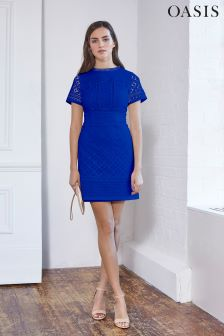 Oasis Cobalt Isla Lace Shift Dress