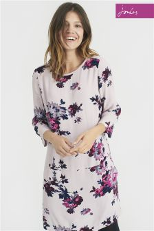 Joules Ambion Champagne Floral Round Neck Dress