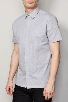 Grey Short Sleeve Twin Pocket Shirt