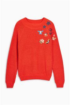 Textured Badge Sweater