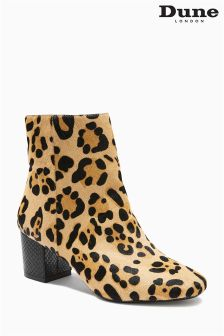 Dune Leopard Print Pony Skin Ankle Boot