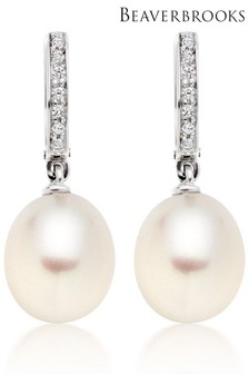 Beaverbrooks 9ct White Gold Pearl Cubic Zirconia Drop Earrings