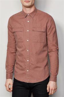 Long Sleeve Utility Linen Blend Shirt
