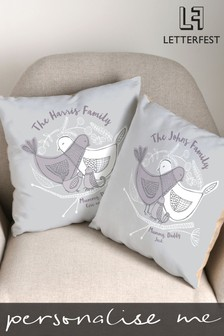 Personalised Birds In A Nest Cushion By Letterfest