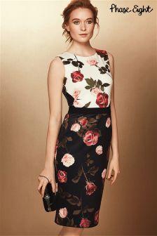 Phase Eight Black Rose Print Dress