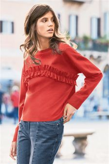 Long Sleeve Ruffle Sweater