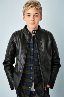 Black PU Biker Jacket (3-16yrs)