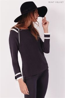 Mint Velvet Ink Sporty Detail Raglan Knit