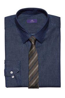 Slim Fit Shirt And Tie Set
