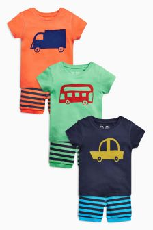 Bright Transport Pyjamas Three Pack (9mths-8yrs)