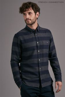French Connection Navy/Grey Striped Shirt