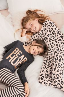 Animal Print Snuggle Pyjamas Two Pack (3-16yrs)