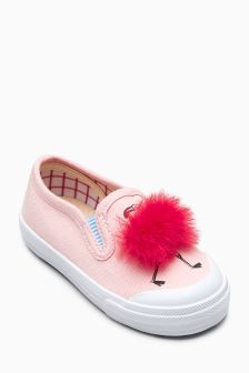 Flamingo Pom Skate Shoes (Younger Girls)