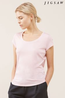 Jigsaw Pink Pima Cotton Short Sleeve Tee
