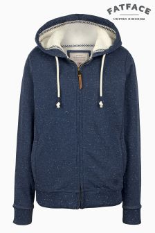 Fat Face Navy Kendal Borg Lined Hoody