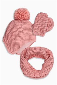 Double Pom Hat, Snood And Mittens Set (Younger Girls)