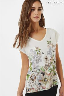 Ted Baker Ivory Teila Gem Gardens Woven Front Tee