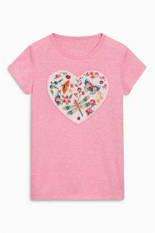 Sequin Heart T-Shirt (3-16yrs)