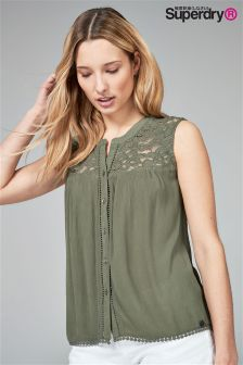 Superdry Khaki Lace Detail Blouse