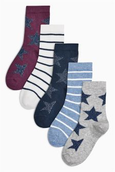Stars Socks Five Pack (Older Girls)