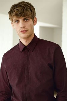 Textured Shirt With Concealed Placket