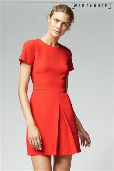 Warehouse Red Box Pleat Dress