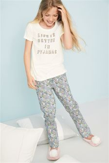 Floral Woven Bottom Pyjamas (3-16yrs)