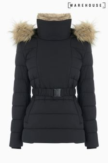 Warehouse Black Short Luxe Parka