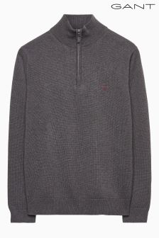 Gant Grey Contrast Cotton Zip Knit