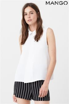 Mango White Sleeveless Shirt