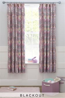 Nancy Floral Black Out Pencil Pleat Curtains