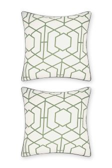 Set Of 2 Oversized Geo Square Pillowcases