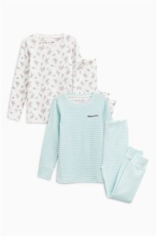 Ditsy/Stripe Snuggle Pyjamas Two Pack (3-16yrs)