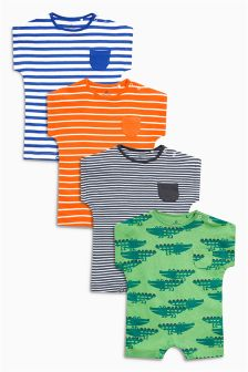 Stripe And Print Short Leg Rompers Four Pack (0mths-2yrs)