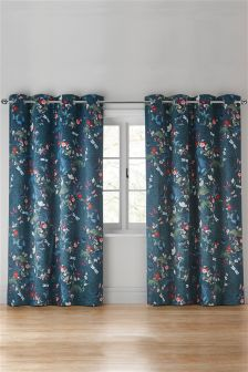 Twilight Garden Floral Print Eyelet Curtains