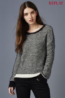 Replay® Black/White Stripe Knit