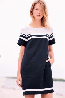 Linen Blend Colourblock Dress