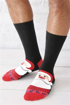 Santa And Rudolph Socks Two Pack