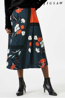 Jigsaw Orange Nordic Floral Midi Skirt