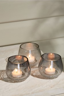 Set of 3 Crackle Tea Light Holders