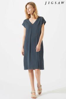 Jigsaw Green Silk Front Jersey Dress