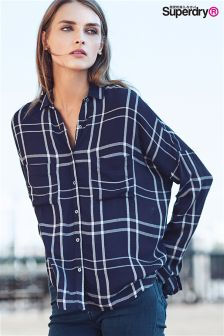 Superdry Navy Mariner Check Boyfriend Shirt