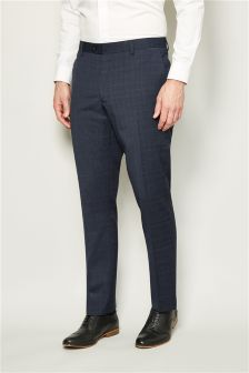 Textured Slim Fit Suit Trousers