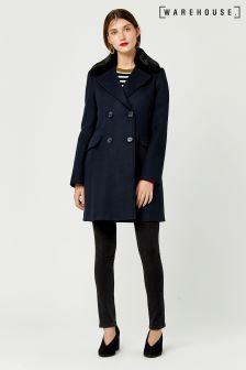 Warehouse Navy Double Breasted Faux Fur Collar Coat