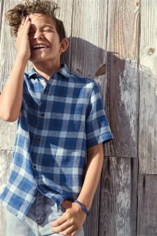 Linen Blend Check Shirt (3-16yrs)