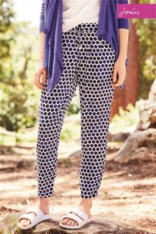Joules Anice Pool Blue Spot Woven Print Trouser