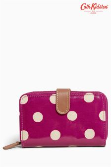 Cath Kidston Plum Spot Button Folded 	Zip Wallet