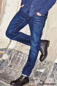 G-Star 3301 Blue Aged Slim Leg Jean