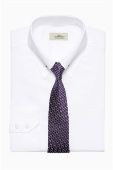 Slim Fit Shirt With Collar Pin And Tie