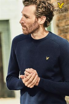 Lyle & Scott Navy Rib Knit Jumper